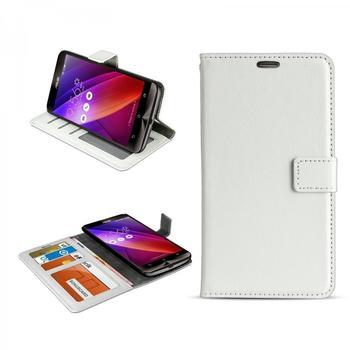 eFabrik Hülle Asus ZenFone 2 Case ZE550ML u. ZE551ML ) Cover mit Aufsteller, Innenfächer, Magnetverschluss Smartphone Kunstleder Weiß