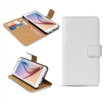 eFabrik für Samsung Galaxy S6 Tasche Handy Zubehör m. Aufsteller Innenfächer Leder Weiß