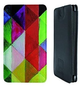 Caseable Farbige Karos I Ledertasche neongrünrot für HTC Desire 610