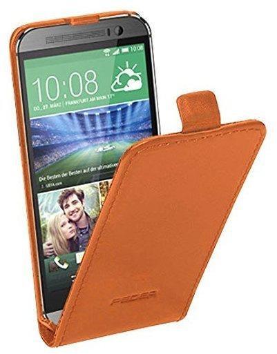 PEDEA Echtleder Flipcase cognac für HTC One mini 2