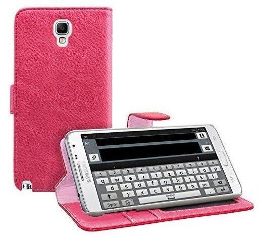 eFabrik Hülle für Samsung Galaxy Note 3 Neo SM-N750SM-7505 Tasche Case Cover Etui Wallet Schutzhülle Schutztasche Note III Neo Handy Zubehör Leder-Optik pink