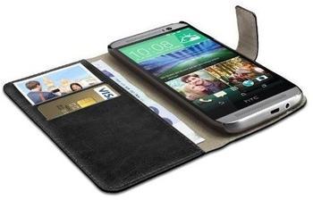 eFabrik Schutzhülle für HTC One M8M8s Tasche Hülle Schutz Case Cover Etui Wallet Bookstyle Schutztasche schwarz