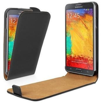 eFabrik Leder Flip Case schwarz für Samsung Galaxy Note 3 Neo