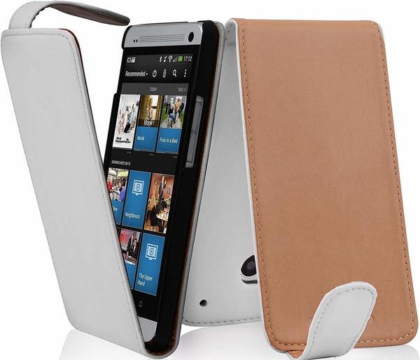 cadorabo ! Premium PU Leder Schutzhülle Flip Style für HTC ONE Mini M4 in POLAR-WEIß