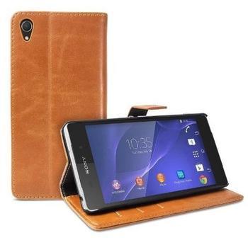 eFabrik Vintage Tasche für Sony Xperia Z2 Smartphone Hülle Case Etui Schutzhülle Cover Retro Wallet Leder-Optik braun