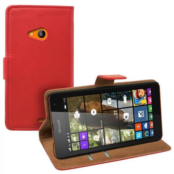 eFabrik Kunstleder Hülle für Microsoft Lumia 535 Tasche Case Cover Etui Schutztasche Schutzhülle Handy Zubehör rot