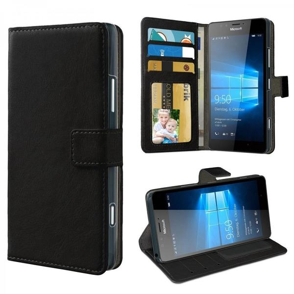eFabrik Tasche für Microsoft Lumia 950 Cover Handy Zubehör m. Aufsteller Innenfächer Hülle aus Kunstleder, schwarz
