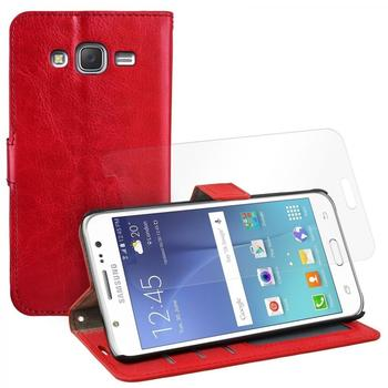 eFabrik Tasche + Folie für Samsung Galaxy J5 Case Hülle Schutz Cover Etui Handy Zubehör Aufsteller Leder-Optik rot