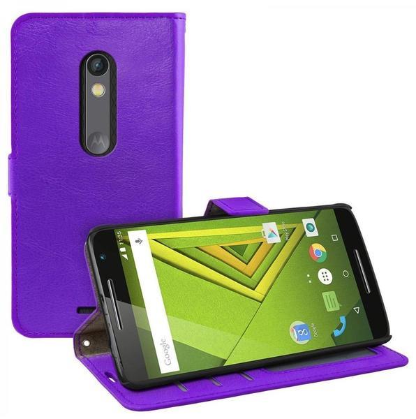 eFabrik Tasche für Motorola Moto X Play Schutztasche Cover Schutz Hülle Handy m. Aufsteller Innenfächer Kunstleder lila