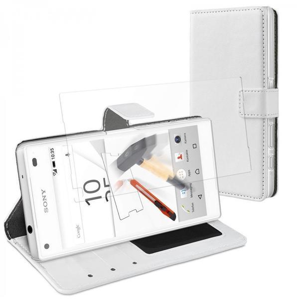 eFabrik Case + Glas Folie für Sony Xperia Z5 COMPACT Cover weiß ( Z5 Mini ) Design Tasche Panzer Displayfolie Schutzfolie Hülle mit Aufsteller u. Innenfächer aus Kunstleder
