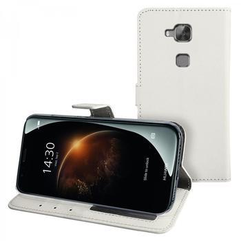 eFabrik Schutzhülle für Huawei G8 Case Tasche Cover Schutztasche Handy Zubehör m. Aufsteller Innenfächer Leder-Optik weiß