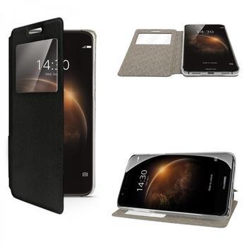 eFabrik Flip Cover Tasche für Huawei G8 Case Hülle Schutztasche Schutzhülle Fenster schwarz