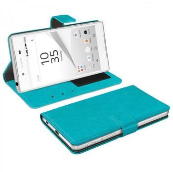 eFabrik Bookstyle Design Cover für Sony Xperia Z5 Schutztasche türkis Handy Zubehör Hülle mit Aufsteller Innenfächer Leder-Optik