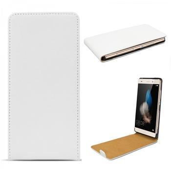 eFabrik Ledertasche für Huawei P8 lite Flip Case Lederhülle Schutz Tasche Hülle weiß