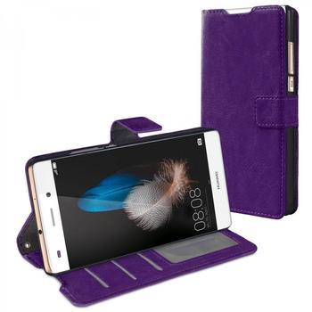 eFabrik Bookstyle Case Huawei P8 lite Schutzhülle Tasche Handy Zubehör Cover Hülle Aufstellfunktion Innenfächer wallet Kunstleder Lila