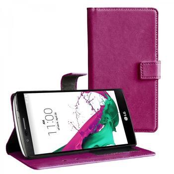 eFabrik Cover für LG G4 Flip Case Design Schutzhülle Etui Tasche Standfunktion Kunstleder lila purple