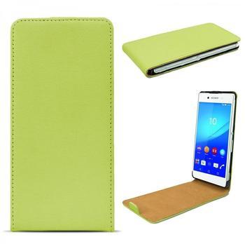 eFabrik Tasche für Sony Xperia Z3+ Flip Case Design Cover Z3 Plus Schutzhülle Etui Smartphone Handy Zubehör Leder grün