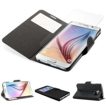 eFabrik Case für Samsung Galaxy S6 Panzer Folie + Cover Tasche Display Schutz Glas Etui Leder-Optik in Schwarz kein S-View