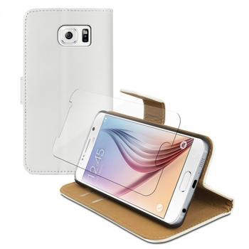 eFabrik Tasche + Panzer Schutzfolie für Samsung Galaxy S6 Schutzhülle Glas Folie Handy Zubehör m. Aufsteller Innenfächer Leder Weiß