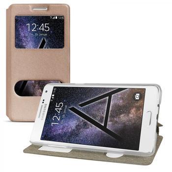 eFabrik Hülle Samsung Galaxy A7 Tasche Schutz Cover Flip Case Etui Schutzhülle Schutztasche Handyhülle Fenster gold farben ( kein S-View )