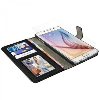 eFabrik Schutzhülle + Folie für Samsung Galaxy S6 Smartphone (5.1 Zoll) Hülle Case Cover Tasche Handyhülle Etui Schutztasche SM-G920F Leder-Optik schwarz