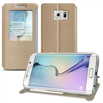 eFabrik Slim Cover Samsung Galaxy S6 Edge Schutzhülle Sichtfenster ( KEIN S-VIEW ) Smartphone Hülle in Kunstleder - Gold glänzend