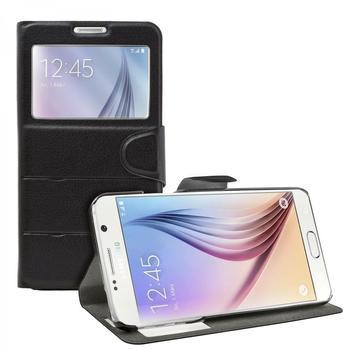 eFabrik Flip Cover Tasche für Samsung Galaxy S6 Hülle Schutztasche Schutzhülle Case Leder-Optik in Schwarz ( kein S-View )