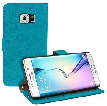 eFabrik Schutz Tasche f. Samsung Galaxy S6 Edge Hülle Cover Flip Case Schutzhülle Schutztasche Etui Leder-Optik türkis