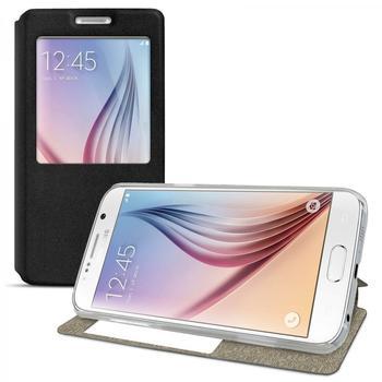 eFabrik Flip Cover für Samsung Galaxy S6 Hülle Tasche Schutzhülle Smartphone Zubehör Case Fenster ( KEIN S-VIEW) in Schwarz
