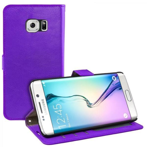 eFabrik Schutzhülle für Samsung Galaxy S6 Edge Flip Cover Schutz Hülle Case Tasche Leder-Optik lila