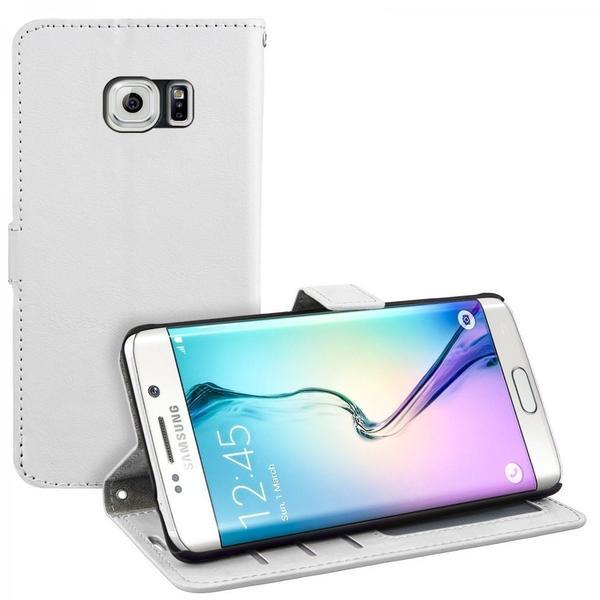 eFabrik Case für Samsung Galaxy S6 Edge Tasche Hülle Flip Cover Schutzhülle Schutztasche Etui Leder-Optik weiß