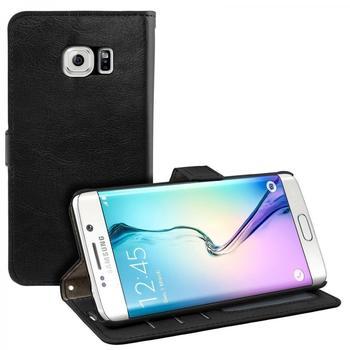 eFabrik Schutzhülle Samsung Galaxy S6 Edge Tasche schwarz Case Cover Hülle Handyhülle Etui Schutztasche SM-G925F Leder-Optik schwarz