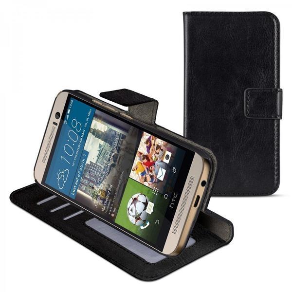eFabrik Schutzhülle für HTC One M9 Schutz Tasche (M9) Bookstyle Case aus Kunstleder, schwarz