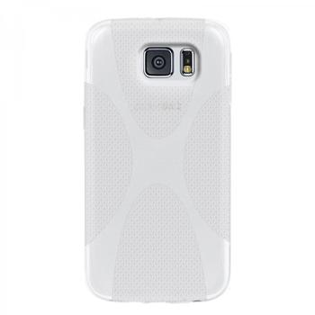 eFabrik Hülle für Samsung Galaxy S6 Schutz Case Cover Tasche Schutzhülle Handyhülle Schutztasche TPU X-Line weiß transparent