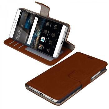 eFabrik Tasche Huawei P8 Cover Handy Zubehör m. Aufsteller Innenfächer Kunstleder, braun