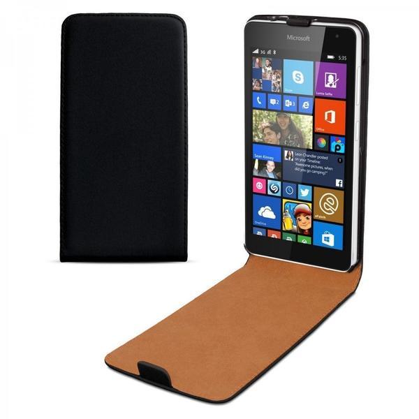 eFabrik Hülle Microsoft Lumia 535 Tasche Handy Smartphone Schutz Flip Case Leder, Schwarz