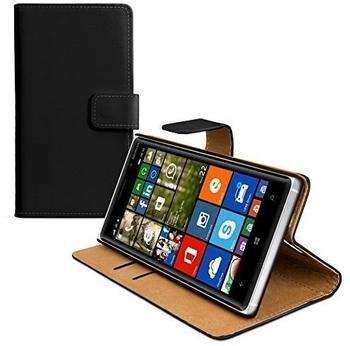 eFabrik Kunstleder Cover für Nokia Lumia 830 Smartphone Tasche Schutzhülle Schutztasche mit Aufstellfunktion, Innenfächer Leder Schwarz