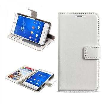 eFabrik Schutz Tasche für Sony Xperia Z3 Compact Hülle Smartphone Zubehör Aufsteller Innenfächer Bookstyle Handy Case Wallet Kunstleder Weiß