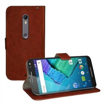 eFabrik Schutz Tasche für Motorola Moto X Style Hülle Cover Handy Zubehör Leder-Optik braun