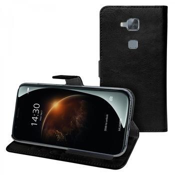 eFabrik Cover für Huawei G8 Tasche Hülle Handy Zubehör m. Aufsteller Innenfächer Kunstleder Schwarz