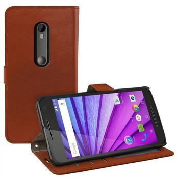 eFabrik Flip Case für Motorola Moto G 3. Generation Schutzhülle Smartphone Cover Hülle Aufsteller Verstaufächer aus Kunstleder braun