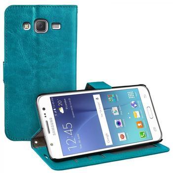 eFabrik Schutzhülle für Samsung Galaxy J5 Tasche türkis mit Aufsteller, Innenfächer, Magnetverschluss Handy Case Smartphone Zubehör Kunstleder