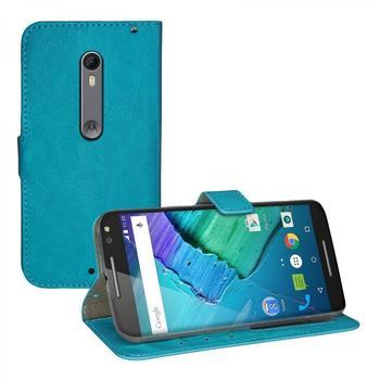 eFabrik Schutzhülle für Motorola Moto X Style Tasche türkis mit Aufsteller, Innenfächer, Magnetverschluss Handy Case Smartphone Zubehör Kunstleder