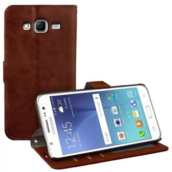 eFabrik Schutz Hülle für Samsung Galaxy J5 Tasche Smartphone Zubehör Aufsteller Innenfächer Bookstyle Handy Case Wallet Leder-Optik braun