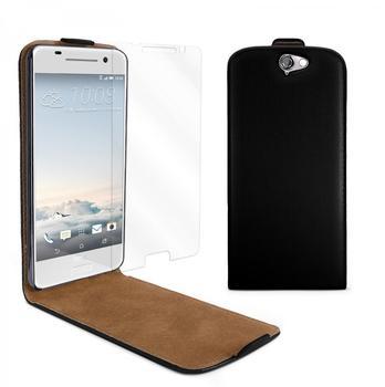 eFabrik Cover + Panzerfolie für HTC One A9 Tasche Schutz Hülle Flip Case Etui Schutzhülle Kunstleder schwarz