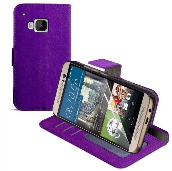 eFabrik Schutzhülle + Displayschutzfolie für HTC One M9 Tasche Hülle mit Aufstellfunktion, Innenfächer, Magnetverschluß Cover in Kunstleder lila