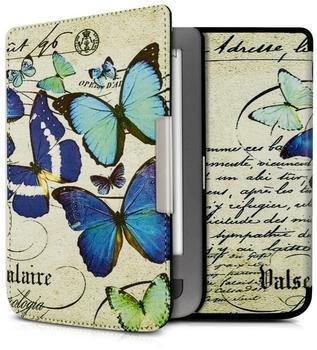 KW-Commerce kwmobile Flip Kunstlederhülle für Pocketbook Touch Lux 3 Touch Lux 2 Schmetterlings Design, 34456.01