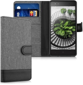 KW-Commerce kwmobile Wallet Case Canvas Hülle für bq Aquaris X5 Plus - Flip Tasche mit Kartenfach und Ständer in Grau Schwarz,