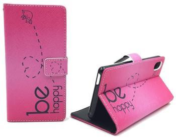 König-Shop Handyhülle Tasche für Handy Sony Sony Xperia M4 Aqua Be Happy Pink