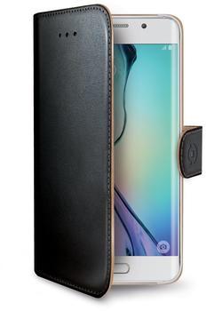 CELLY Kunstledertasche passend für Samsung Galaxy S6 edge Wally Case schwarz